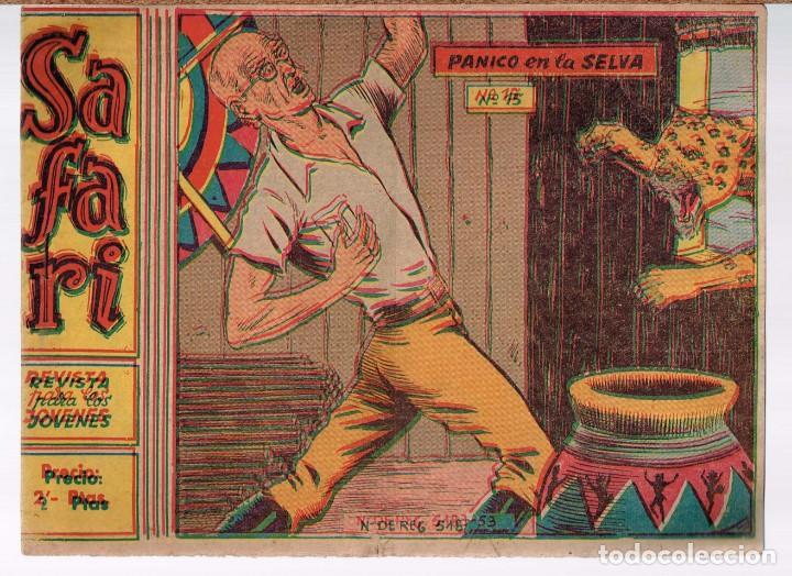 SAFARI. Nº-15 PANICO EN LA SELVA . RICART 1965 (Tebeos y Comics - Ricart - Safari)