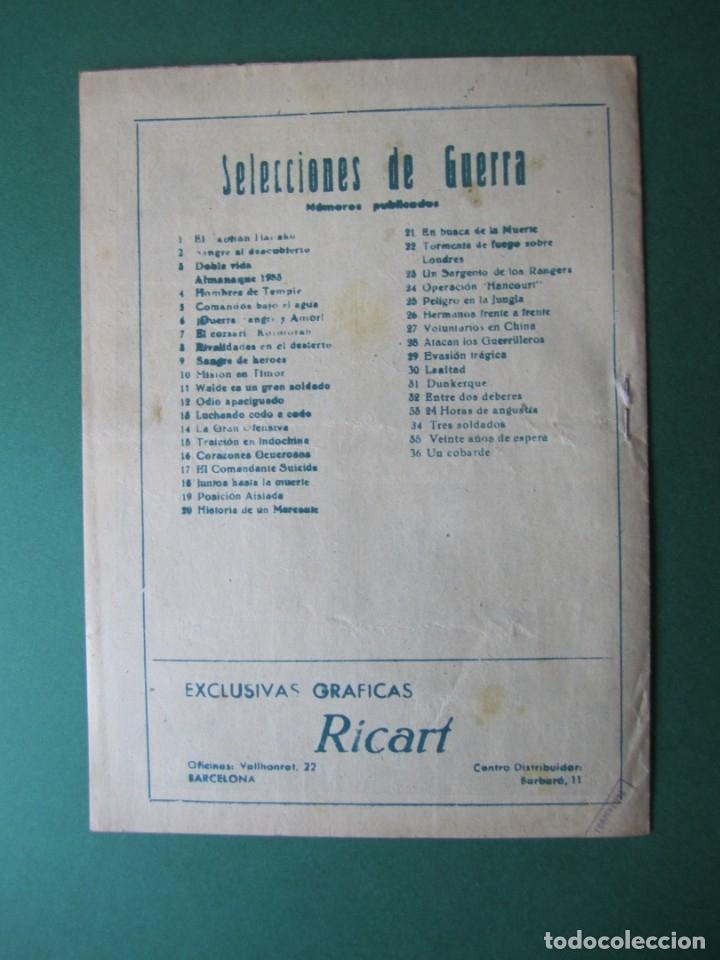 Tebeos: SELECCIONES DE GUERRA (1952, RICART) 36 · 1-V-1954 · UN COBARDE - Foto 2 - 172581653