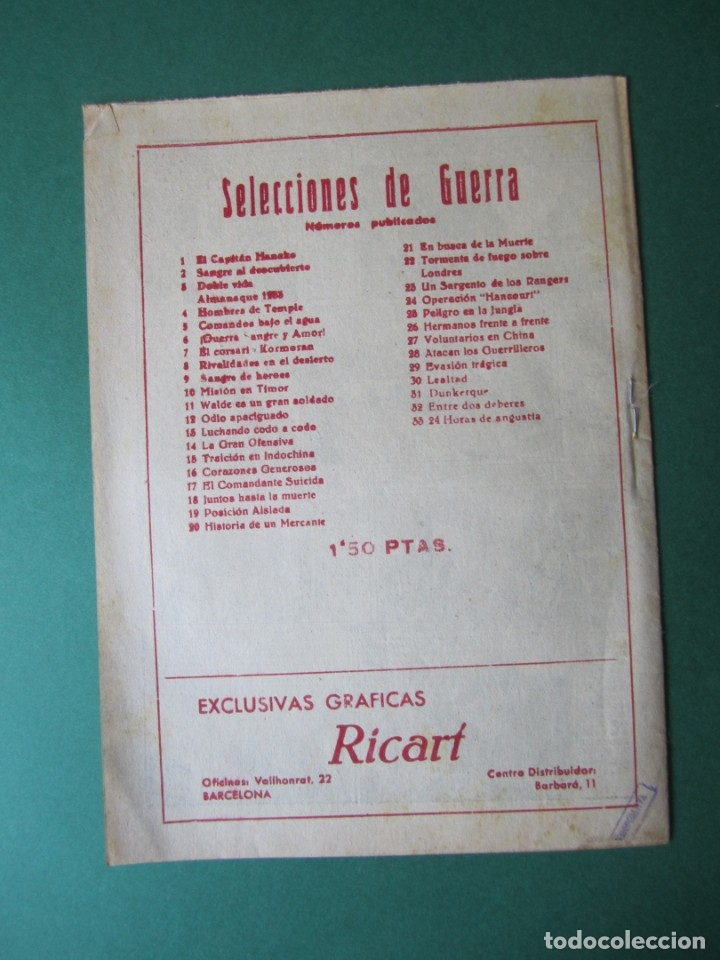 Tebeos: SELECCIONES DE GUERRA (1952, RICART) 33 · 15-III-1954 · HORAS DE ANGUSTIA - Foto 2 - 172582027