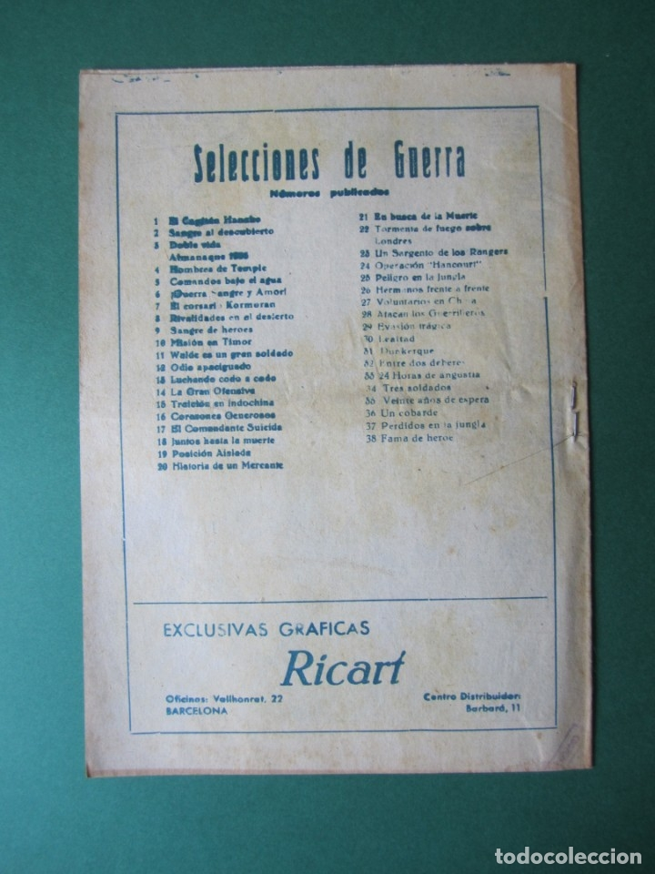 Tebeos: SELECCIONES DE GUERRA (1952, RICART) 38 · 1-II-1954 · FAMA DE HEROE - Foto 2 - 172582382