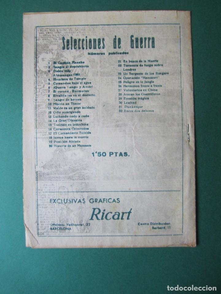 Tebeos: SELECCIONES DE GUERRA (1952, RICART) 32 · 1-III-1954 · ENTRE DOS DEBERES - Foto 2 - 172582482