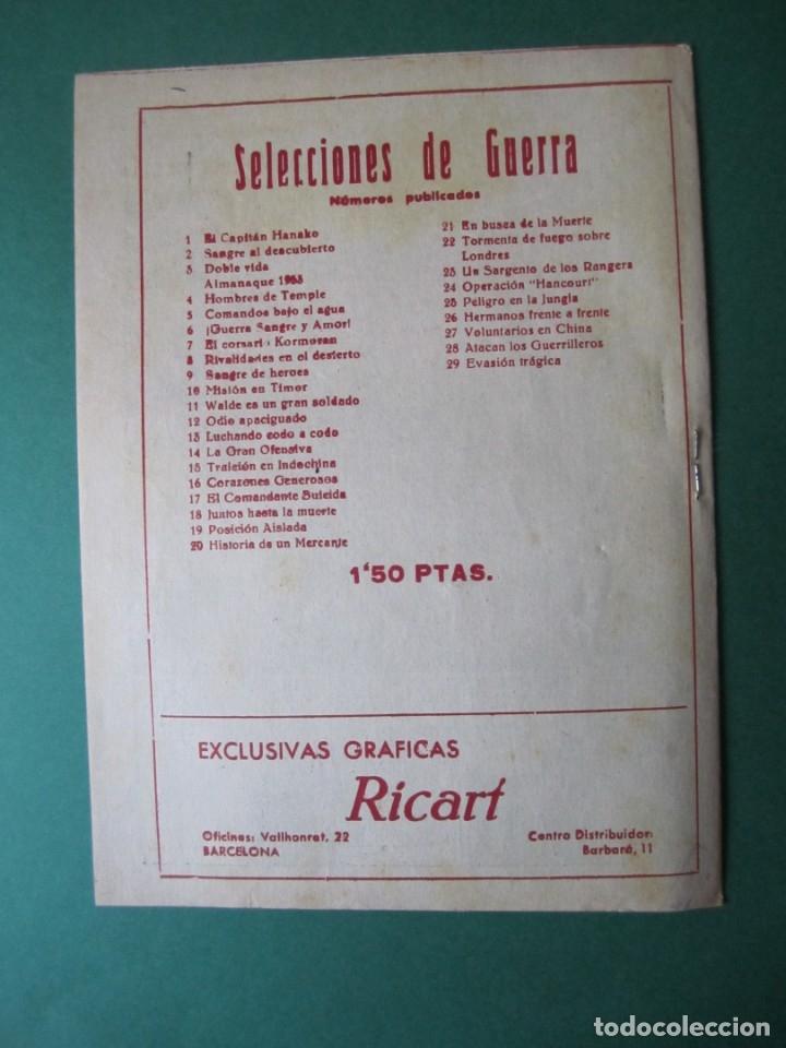 Tebeos: SELECCIONES DE GUERRA (1952, RICART) 29 · 1-III-1954 · EVASIÓN TRAGICA - Foto 2 - 172582534