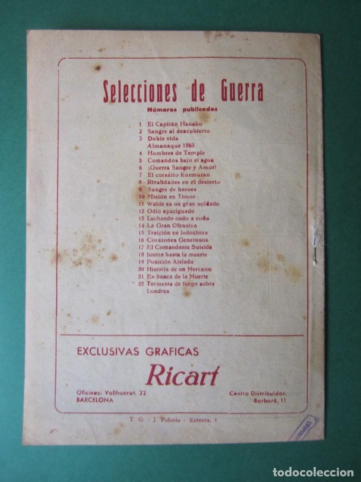 Tebeos: SELECCIONES DE GUERRA (1952, RICART) 22 · 1-X-1953 · TORMENTA DE FUEGO SOBRE LONDRES - Foto 2 - 172582993