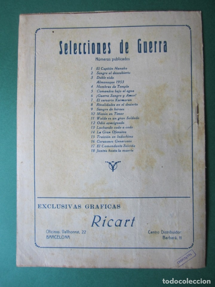 Tebeos: SELECCIONES DE GUERRA (1952, RICART) 18 · 1-VIII-1953 · JUNTOS HASTA LA MUERTE - Foto 2 - 172583074