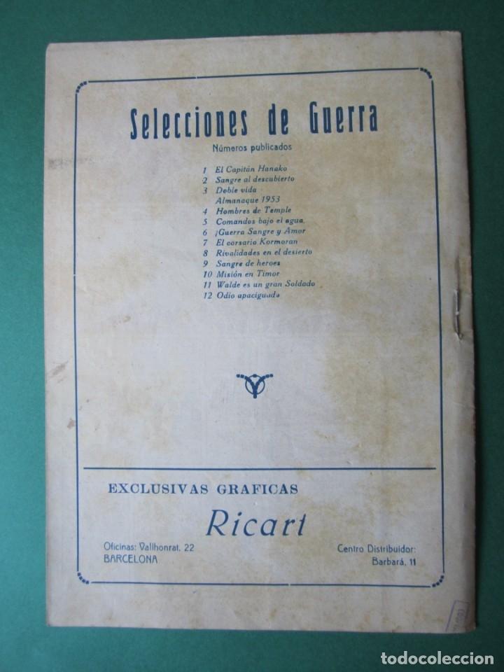 Tebeos: SELECCIONES DE GUERRA (1952, RICART) 12 · 1-V-1953 · ODIO APACIGUADO - Foto 2 - 172583272