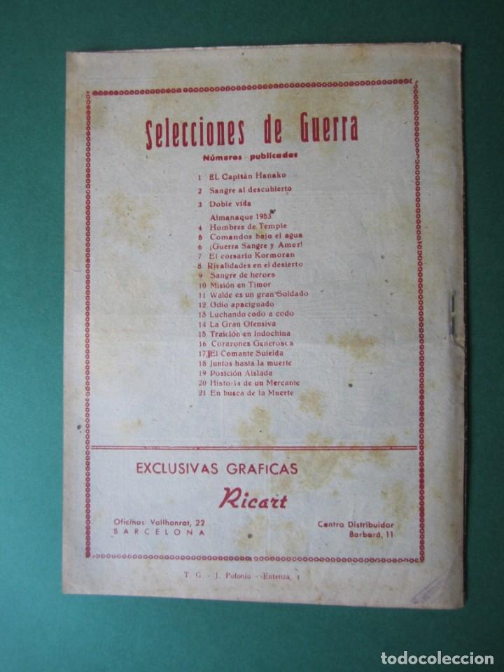 Tebeos: SELECCIONES DE GUERRA (1952, RICART) 21 · 1-III-1953 · EN BUSCA DE LA MUERTE - Foto 2 - 172583719