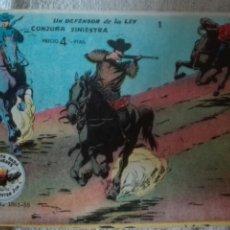 Tebeos: UN DEFENSOR DE LA LEY CONJURA SINIESTRA ORIGINAL NUMERO 1 WINCHESTER JIM. Lote 175800430