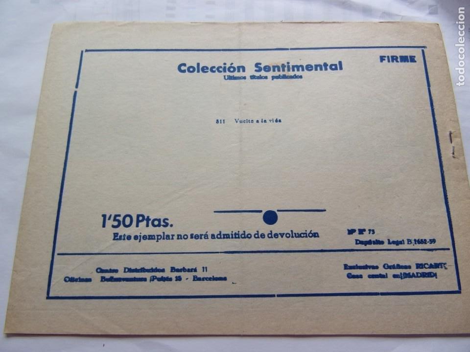 Tebeos: COLECCIÓN SENTIMENTAL -VUELTA A AL VIDA- ANO 1959 - Foto 2 - 206501496