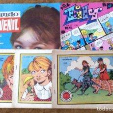 Tebeos: GARDENIA AZUL Nº 175, 190 Y 317 (RICART 1968/71), MUNDO JUVENIL Nº 1, LILY Nº 810 (BRUGUERA 1963/77). Lote 195609802
