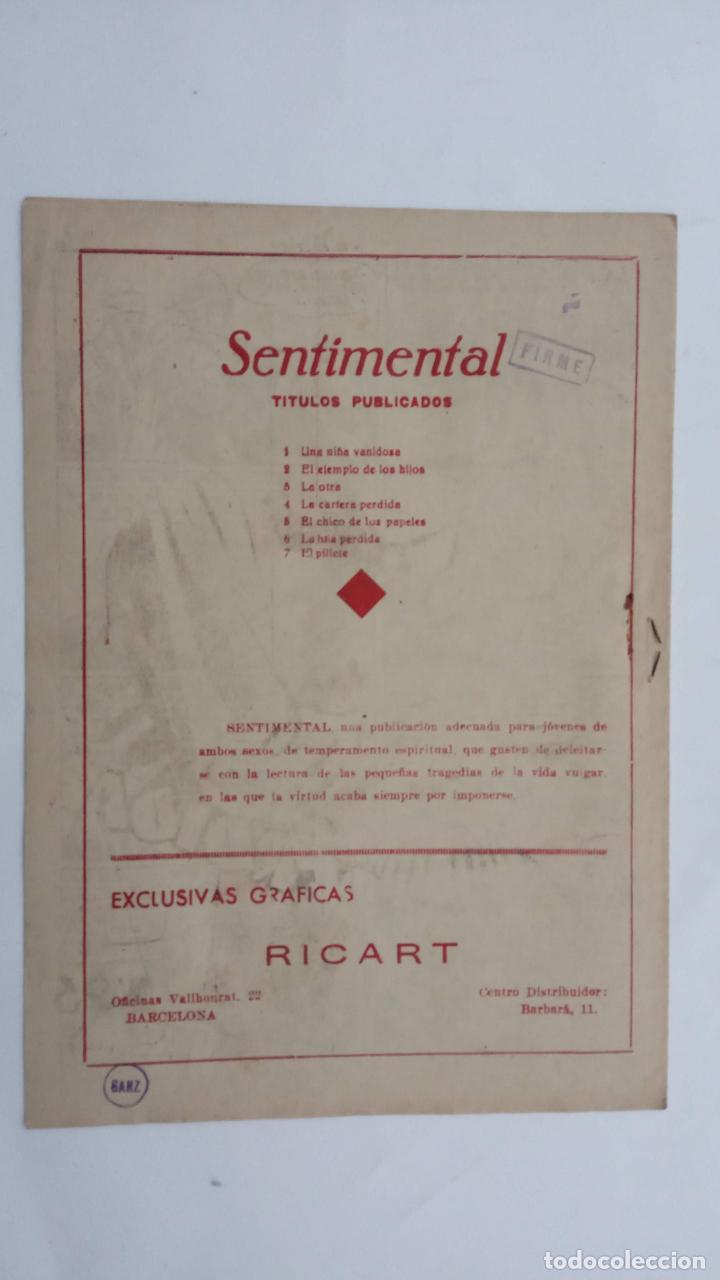 Tebeos: COLECCIÓN SENTIMENTAL Nº 7 - SIN CIRCULAR NI ABRIR - 1953 EDI. RICART - Foto 3 - 231612895