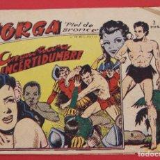 Tebeos: JORGA PIEL DE BRONCE. Nº 8 ANGUSTIOSA INCERTIDUMBRE BARCELONA ORIGINAL RICART 1963. Lote 253537470