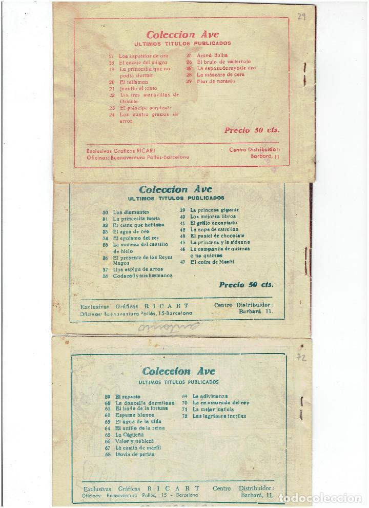 Tebeos: Archivo * LOTE 3 CUENTOS DE LA COLECCIÓN AVE * RICART 1955 * Nº 29, 47, 72 * ORIGINALES * - Foto 2 - 263074855