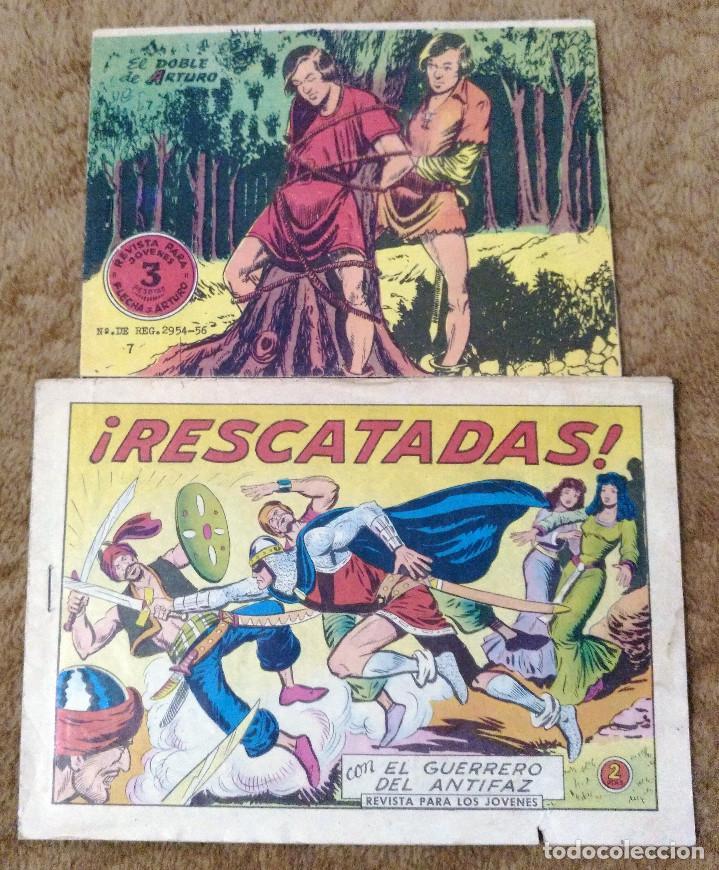 FLECHA Y ARTURO Nº 7 (RICART 1966) Y GUERRERO DEL ANTIFAZ Nº 541 (VALENCIANA 1963) 2 TEBEOS. (Tebeos y Comics - Ricart - Flecha y Arturo)