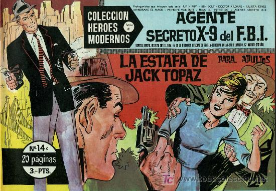 AGENTE SECRETO X-9 DEL F.B.I. - COLECCIÓN HEROES MODERNOS Nº 14 SERIE C - 1964 - COMO NUEVO (Tebeos y Comics - Rollán - FBI)