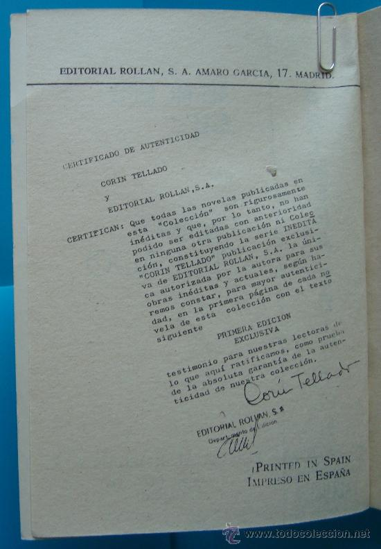 Tebeos: NOVELA DE CORIN TELLADO PRIMERA EDISION DE 1968, Nº 145 EDITORIAL ROLLAN, S. A. - ME SENTIA SOLA - Foto 2 - 35937328
