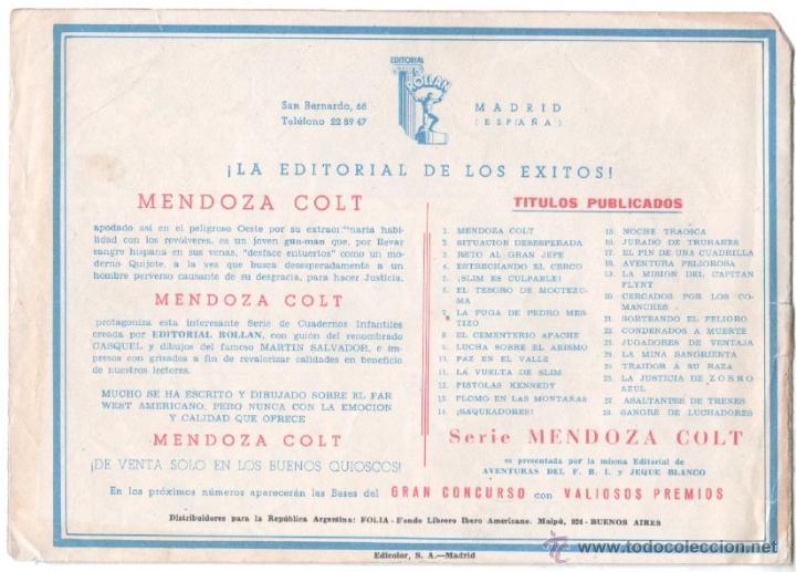 Tebeos: MENDOZA COLT ORIGINAL Nº 28 EDI. ROLLAN 1956 - - Foto 2 - 53291014