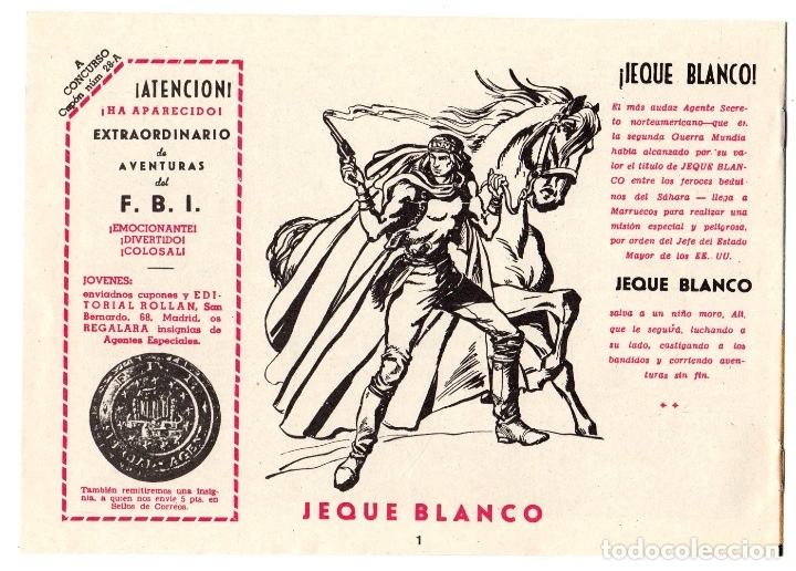 Tebeos: JEQUE BLANCO. Nº 1. MISION EN AFRICA. ORIGINAL, NO REEDICION - Foto 3 - 122860030