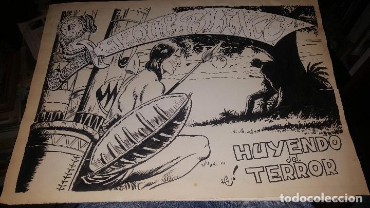 ORIGINALES JEQUE BLANCO, N° 68 HUYENDO DEL TERROR, CUBIERTA Y 10 PAGS. FIRMA ARMANDO (Tebeos y Comics - Rollán - Jeque Blanco)