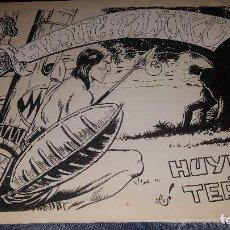 Tebeos: ORIGINALES JEQUE BLANCO, N° 68 HUYENDO DEL TERROR, CUBIERTA Y 10 PAGS. FIRMA ARMANDO. Lote 148601146