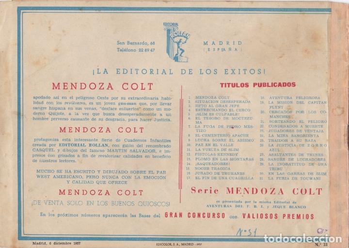 Tebeos: MENDOZA COLT Nº 31 LA FURIA DE TOUWAN EL DE LA FOTO VER FOTO ADICIONAL CONTRAPORTADA - Foto 2 - 174079900