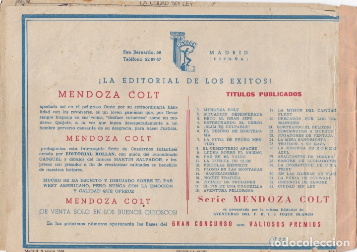 Tebeos: MENDOZA COLT Nº 33 CIUDAD SIN LEY EL DE LA FOTO VER FOTO ADICIONAL CONTRAPORTADA - Foto 2 - 174080930