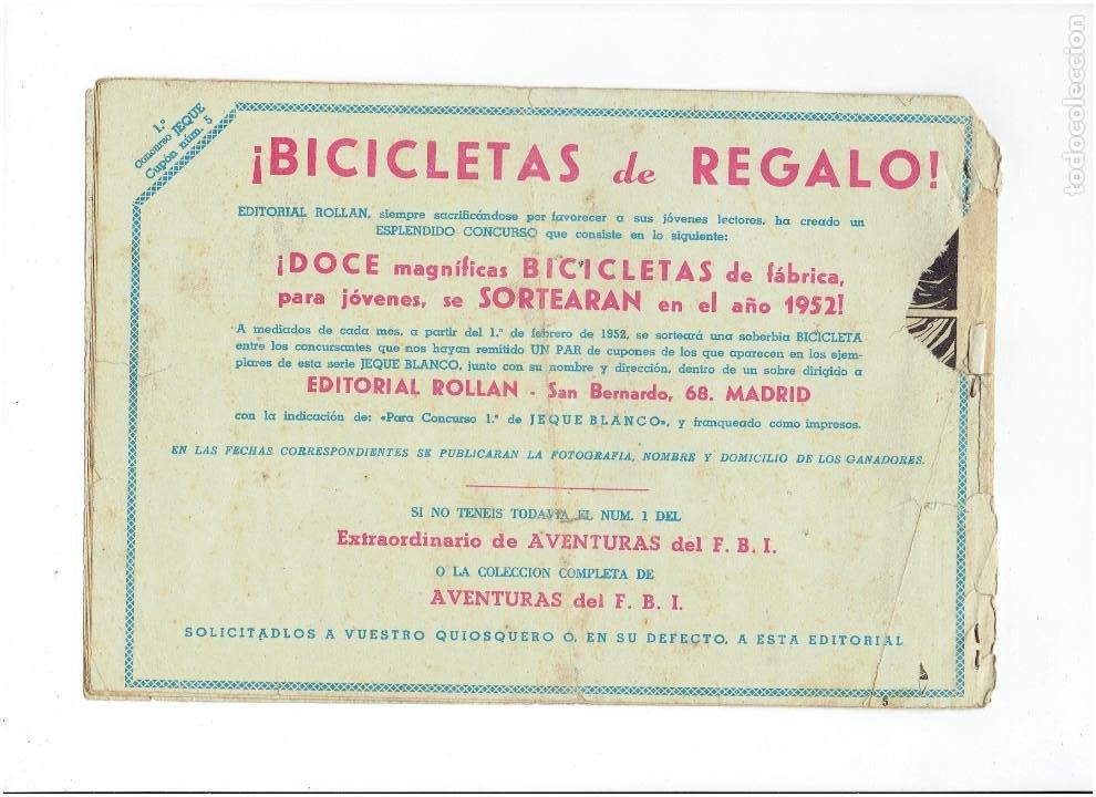 Tebeos: Archivo *JEQUE BLANCO * Nº 5, 29, ORIGINAL * EDITORIAL ROLLAN 1952 * - Foto 3 - 269474233