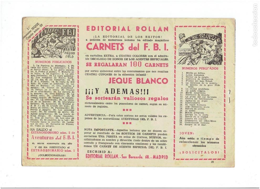 Tebeos: Archivo *JEQUE BLANCO * Nº 5, 29, ORIGINAL * EDITORIAL ROLLAN 1952 * - Foto 5 - 269474233