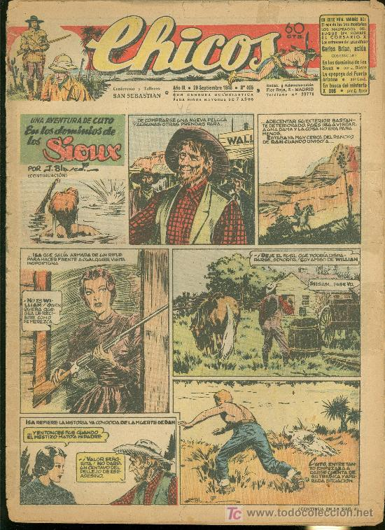 CHICOS. AÑO IX. Nº 405. 29 SEPTIEMBRE DE 1946. EN LOS DOMINIOS DE LOS SIOUX. (Tebeos y Comics - Toray - Sioux)