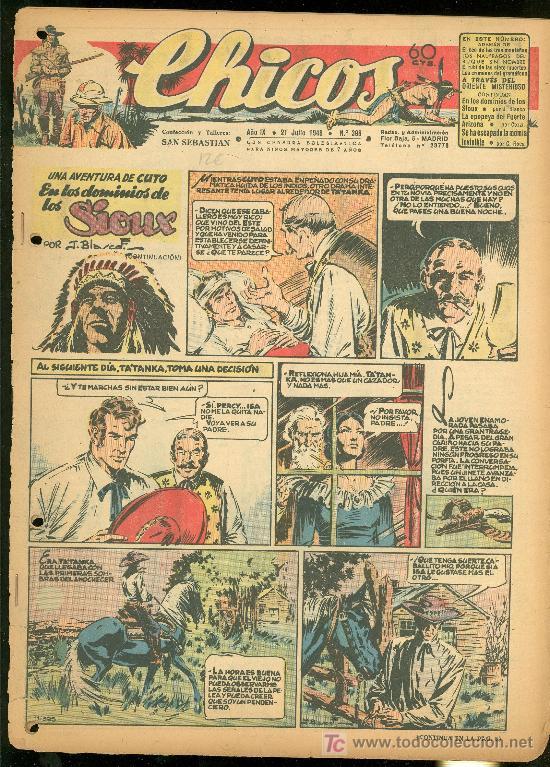 CHICOS. AÑO IX. Nº 395. 21 JULIO DE 1946. EN LOS DOMINIOS DE LOS SIOUX. (Tebeos y Comics - Toray - Sioux)
