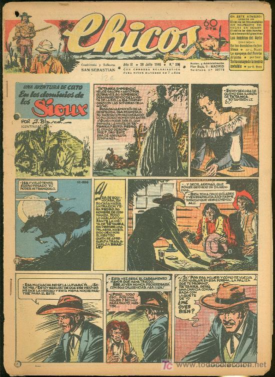 CHICOS. AÑO IX. Nº 396. 28 JULIO DE 1946. EN LOS DOMINIOS DE LOS SIOUX. (Tebeos y Comics - Toray - Sioux)