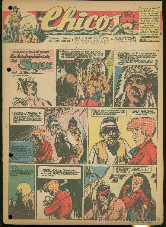 CHICOS. AÑO IX. Nº 394. 14 JULIO DE 1946. EN LOS DOMINIOS DE LOS SIOUX. (Tebeos y Comics - Toray - Sioux)