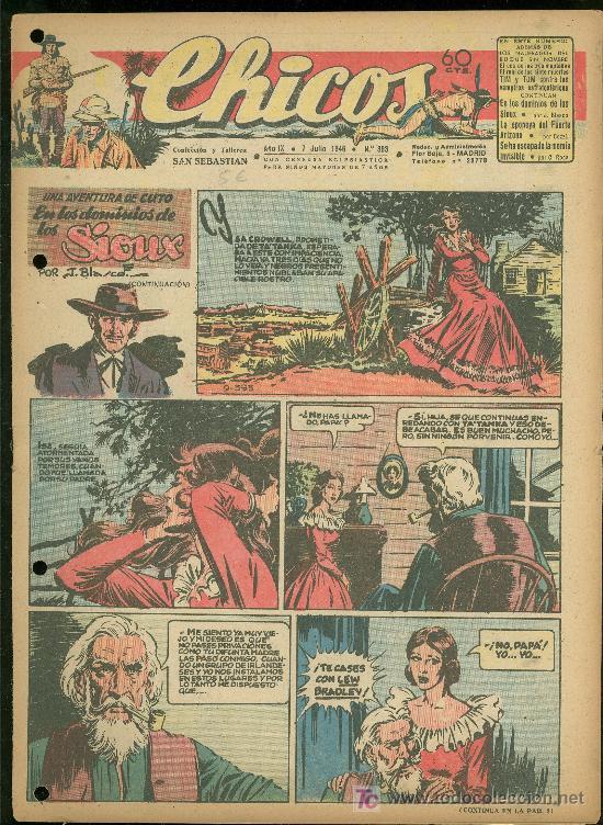 CHICOS. AÑO IX. Nº 393. 7 JULIO DE 1946. EN LOS DOMINIOS DE LOS SIOUX. (Tebeos y Comics - Toray - Sioux)