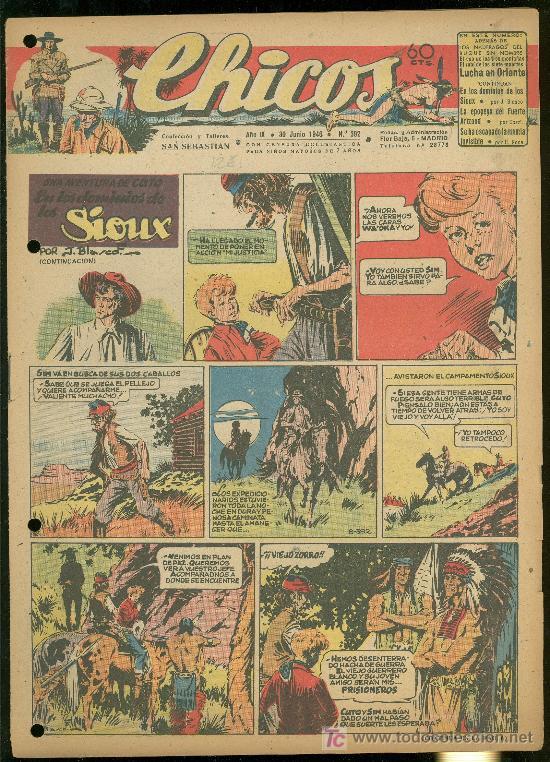 CHICOS. AÑO IX. Nº 392. 30 JUNIO DE 1946. EN LOS DOMINIOS DE LOS SIOUX. (Tebeos y Comics - Toray - Sioux)