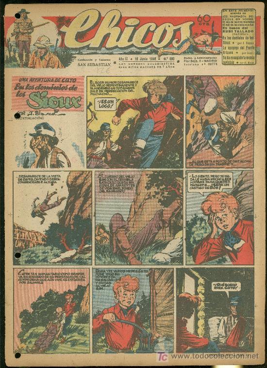 CHICOS. AÑO IX. Nº 390. 16 JUNIO DE 1946. EN LOS DOMINIOS DE LOS SIOUX. (Tebeos y Comics - Toray - Sioux)