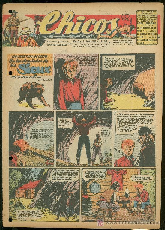 CHICOS. AÑO IX. Nº 389. 9 JUNIO DE 1946. EN LOS DOMINIOS DE LOS SIOUX. (Tebeos y Comics - Toray - Sioux)