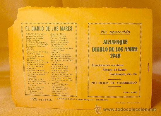 Tebeos: COMIC, EL DIABLO DE LOS MARES, Nº 61, FERMENTOS DE ODIO, EDICIONES TORAY, ORIGINAL - Foto 2 - 22521081