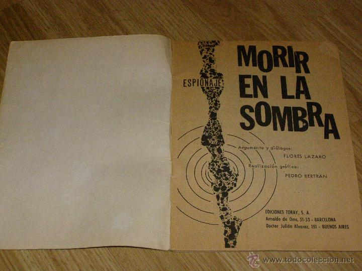 Tebeos: ESPIONAJE nº 34 - MORIR EN LA SOMBRA - 8 PTS. - AÑO 1966 - Novela gráfica adultos. - Foto 2 - 40576818