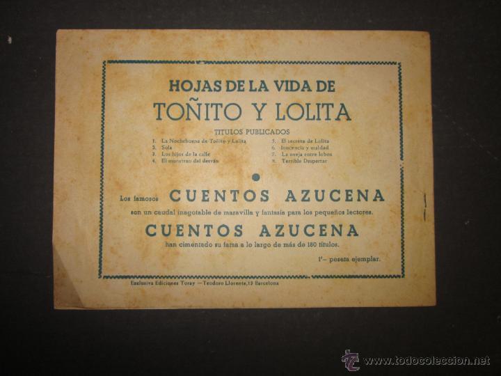 Tebeos: HOJAS DE LA VIDA DE TOÑITO Y LOLITA - NUM 8 -EDICIONES TORAY - DIBUJOS JAIME JUEZ - (COM- 293) - Foto 7 - 46593539