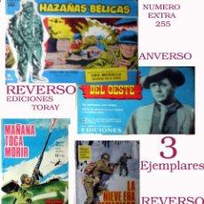 Tebeos: LOTE DE 3 TEBEOS DE HAZAÑAS BELICAS, EXTRA 255 SERIE AZUL, Nº 16 POR BOIXCAR Y Nº 136 EDI.TORAY 1966. Lote 49047813