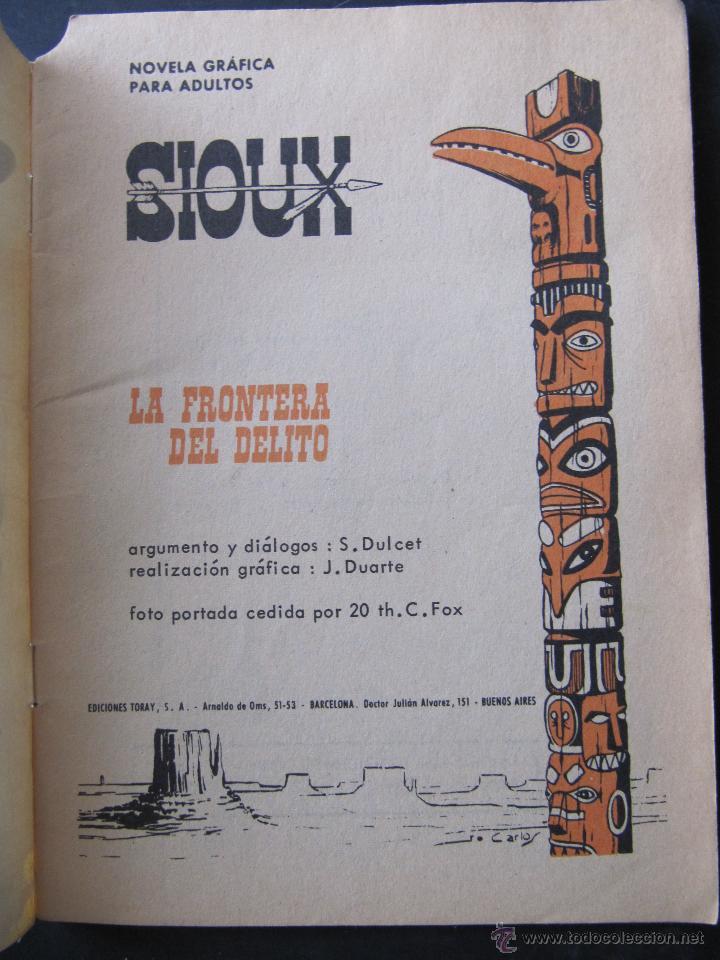 Tebeos: SIOUX. LA FRONTERA DEL DELITO. EDICIONES TORAY. S. DULCET. J. DUARTE - Foto 2 - 53786308
