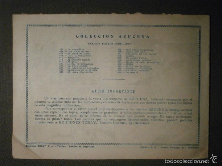 Tebeos: TEBEO - COMIC - COLECCION AZUCENA - LA FUENTE - TORAY - AÑO XII - Nº 496 - Foto 2 - 58600816