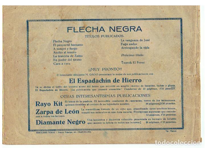 Tebeos: Flecha Negra nº 10 - Arriesgando la vida - Original - Ed. Toray 1949 - Foto 2 - 64402515