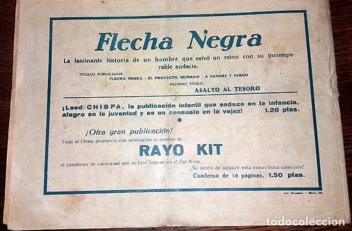 Tebeos: FLECHA NEGRA - A SANGRE Y FUEGO NUMERO 3 (DE 23) EDICIONES TORAY 1949 ORIGINAL - Foto 3 - 101015467