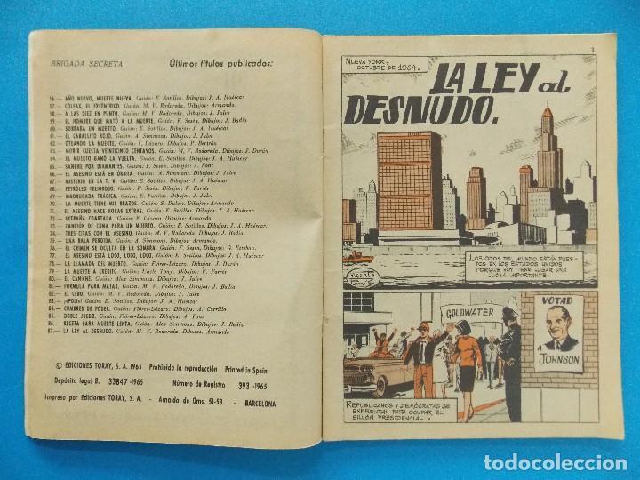 Tebeos: NOVELA GRAFICA - BRIGADA SECRETA Nº 87 - AÑO 1965 - EDICIONES TORAY... R-8616 - Foto 3 - 115053779