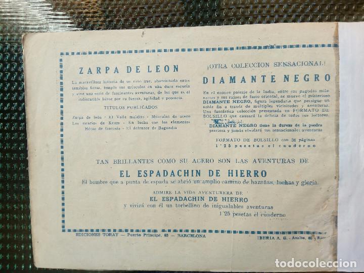 Tebeos: COMIC ZARPA DE LEON Nº 7 - ORIGINAL - EDC. TORAY 1950 (M-1) - Foto 2 - 116550899