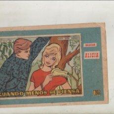 Tebeos: REVISTA JUVENIL FEMENINA-APAISADO-COLECCIÓN ALICIA-AÑO 1958-BICOLOR-TORAY-FORMATO GRAPA-Nº 320. Lote 132710098