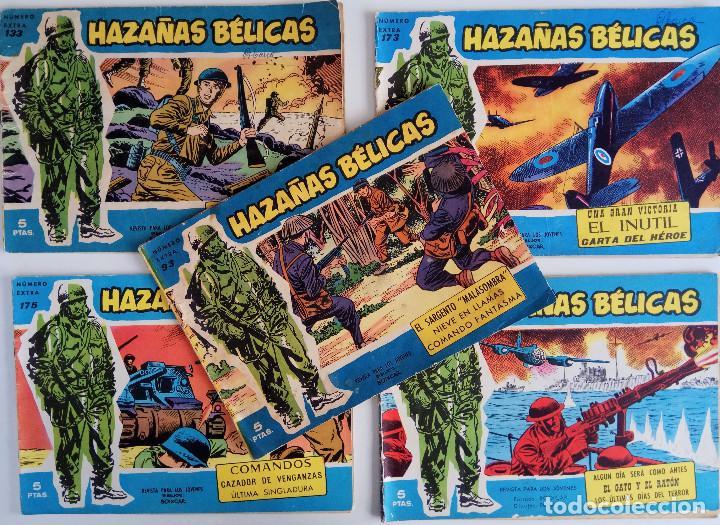 COLECCIÓN HAZAÑAS BÉLICAS Nº 93, 133, 173, 175, 204 NUMEROS EXTRAS - NIEVE EN LLAMAS Y OTROS (Tebeos y Comics - Toray - Hazañas Bélicas)
