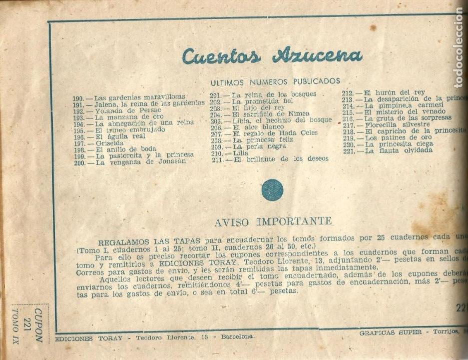 Tebeos: COLECCION ORIGINAL AZUCENA ENCUADERNADA DE 40 TEBEOS. EDITORIAL TORAY, AÑOS -50-60. - Foto 6 - 127636095