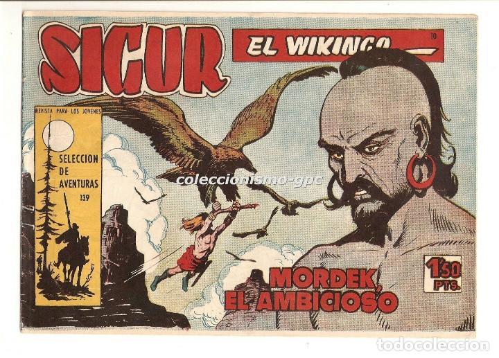 SIGUR EL WIKINGO Nº 10 TEBEO ORIGINAL 1958 MORDEK EL AMBICIOSO EDICIONES TORAY MUY BUEN ESTADO LEER! (Tebeos y Comics - Toray - Otros)
