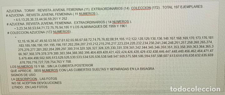 Tebeos: AZUCENA . TORAY . REVISTA JUVENIL FEMENINA (11) .EXTRAORDINARIOS (14) .COLECCION (171) TOTAL 197 . - Foto 18 - 213484995